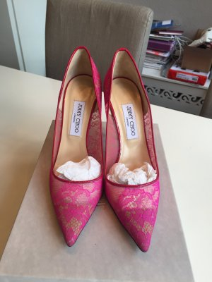 Jimmy Choo Abel Lace Rasberry Pumps NEU!