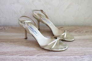 Jimmy Choo Strapped Sandals gold-colored-oatmeal leather