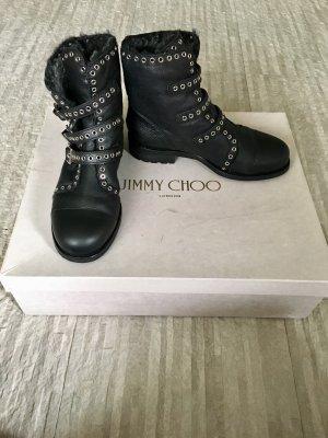 Jimmy Choo Winter Boots black-silver-colored leather