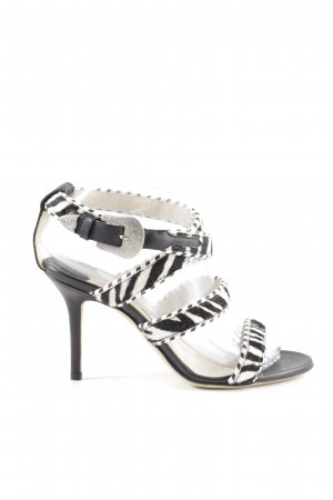 Jimmy Choo High Heel Sandaletten schwarz-weiß Animalmuster Casual-Look
