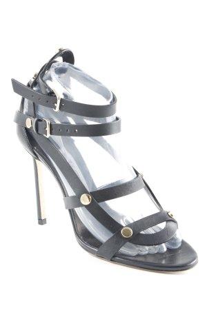 Jimmy Choo High Heel Sandaletten schwarz-goldfarben Elegant