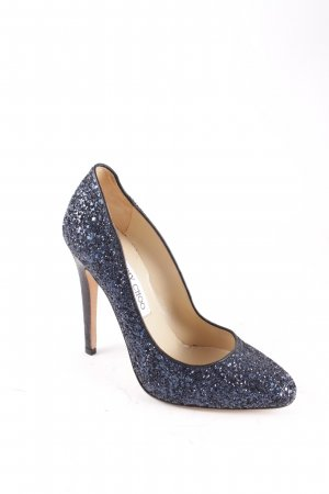 Jimmy Choo High Heels dunkelblau Glitzer-Optik Leder