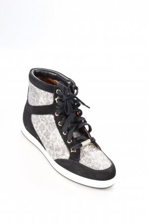Jimmy Choo High Top Sneaker schwarz-silberfarben extravaganter Stil