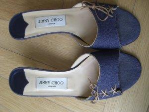 Jimmy Choo Sandalo con tacco blu Fibra tessile