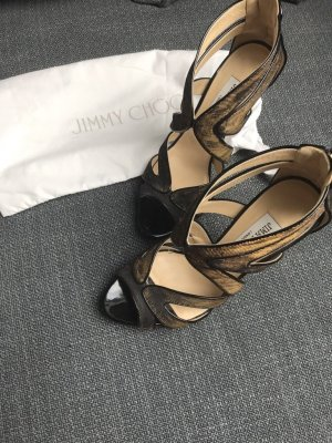 Jimmy Choo Karla High Heels Gr. 37 Gold-Schwarz Lame