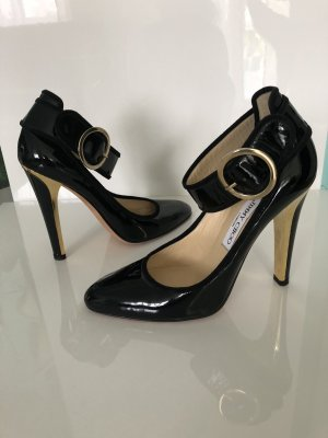 Jimmy Choo Lackleder Pumps Gr. 38 Schwarz Gold