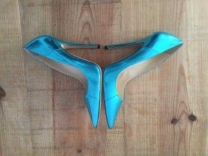 Jimmy Choo Leder Stiletto Pumps metallic Look 38 neuw
