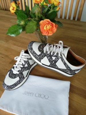 JIMMY CHOO London Glitter Embellished-Leather Sneakers