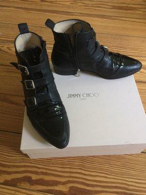 """Jimmy Choo """"Marlin"""" Ankle Boots Stiefeletten schwarz Lackleder – 38"""