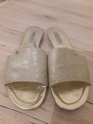 Jimmy Choo - Nanda Pantoletten Aus Canvas Mit Glitter-canvas - Gold