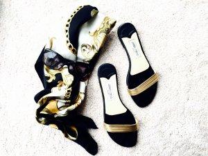 Jimmy Choo Pantoletten, schwarz-Gold, urban-look, Leder, Gr. 40