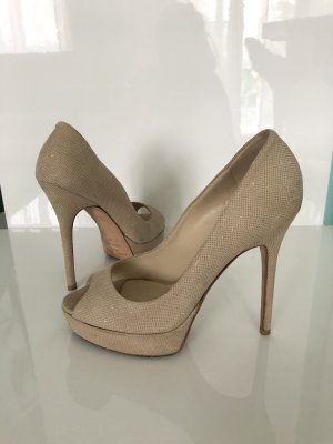 Jimmy Choo Peep Toes High Heels Gr. 37 Beige Gold