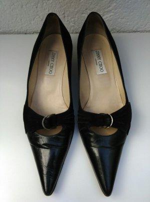 Jimmy Choo Pumps Absatzschuhe Leder schwarz black Spitz Schuhe Gr. 40