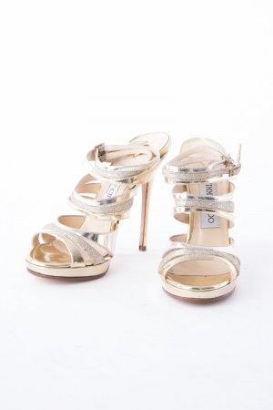 Jimmy Choo Strapped High-Heeled Sandals gold-colored leather