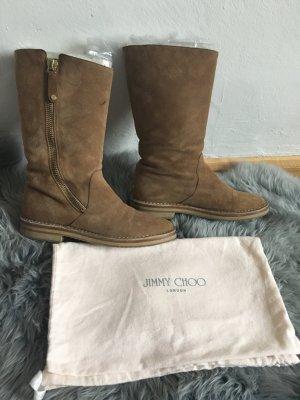 Jimmy Choo Sand braune Stiefel Schuhe Fell Wildleder 38 37 gefüttert winter
