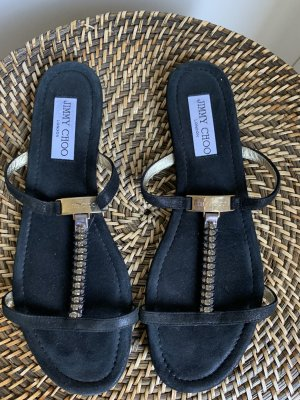 Jimmy Choo Strapped Sandals black-gold-colored