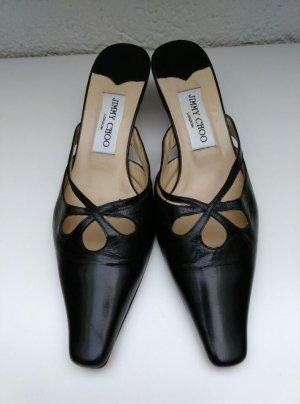 Jimmy Choo schwarze black Pumps Absatz Pantoletten Leder Spitz Schuhe Gr.40
