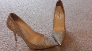 Jimmy Choo Stilettos und Clutch gold glitzernd