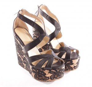 Jimmy Choo Wedge Sandals black-beige leather