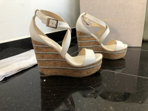 Jimmy Choo Wedge Sandals white-silver-colored leather