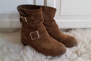 jimmy choo youth Biker Boots booties suede