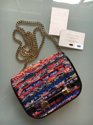 Jimmy Choo Zadie Multicolor Crossbody Bag Lackleder und gewebt bunt schwarz gold