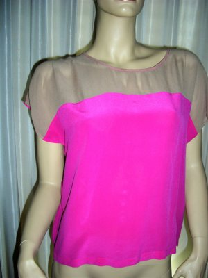 Top extra-large rose fluo-brun sable soie