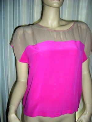 Oversized shirt neonroos-zandig bruin Zijde