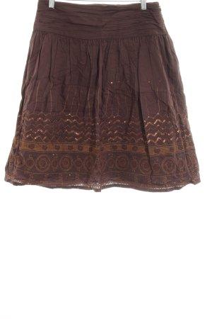 JJB Benson Jupe en tissu crash brun motif ethnique imprimé aztèque
