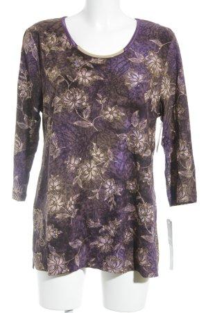 JM Collection Shirttunika blauviolett-camel Blumenmuster Casual-Look
