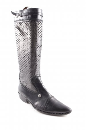 Jo ghost Western Boots black-silver-colored spot pattern country style