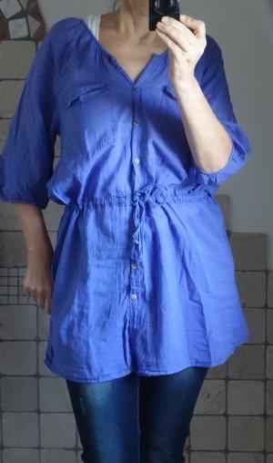 Lange blouse blauw-blauw-paars Katoen