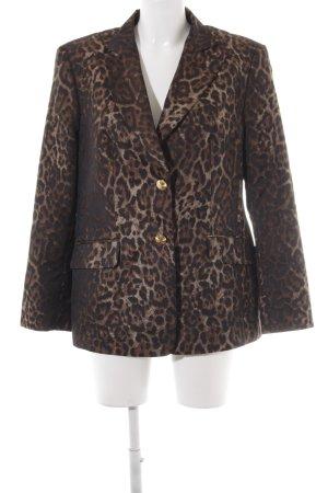 Jobis Blazer de tela de sudadera negro-marrón estampado de animales