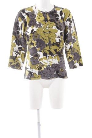 Jobis Wolljacke grasgrün-anthrazit florales Muster Casual-Look