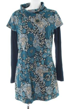 Joe Browns Robe pull bleu-blanc cassé motif de fleur style décontracté