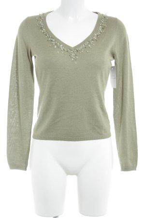 Joe Taft V-Ausschnitt-Pullover graugrün schlichter Stil