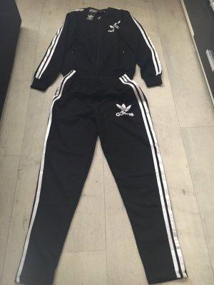 Adidas Traje de pantalón negro-blanco