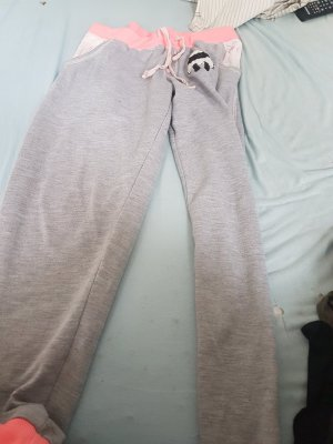 Jogginghose Farbe grau pink mit scharf Motiv große XL