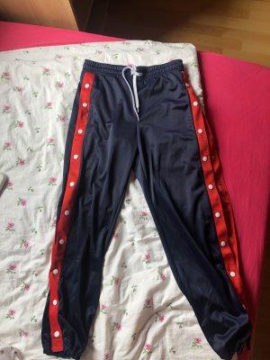 H&M Pantalon taille haute rouge-bleu