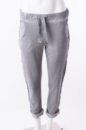 Jogginghose mit Glitzerapplikationen Grau One Size NEU