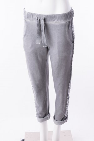 Jogpants mit Glitzerapplikationen Grau (One Size)