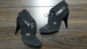 Lace-up Booties dark grey leather