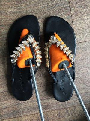Flip-Flop Sandals black-silver-colored