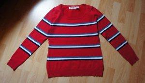 John Baner Pullover rot blau weiß - Gr. 36/38
