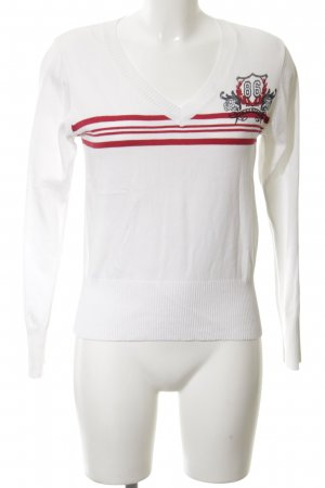 John Baner V-Neck Sweater white-red printed lettering casual look