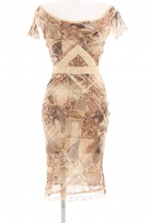 John Galliano Blusenkleid nude-braun abstraktes Muster Elegant