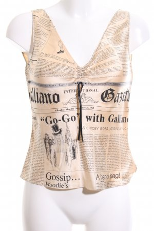 John Galliano Silk Top cream-black themed print casual look