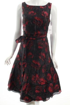 John Lewis A-Linien Kleid dunkelrot-schwarz florales Muster Casual-Look