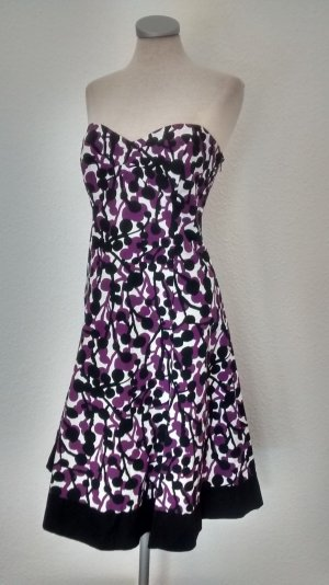 John Rocha Designer Kleid Gr. UK 14 EUR 42 lila schwarz bandeaukleid