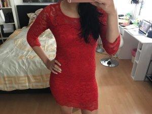 John Zack Kleid Abendkleid Spitze Rot